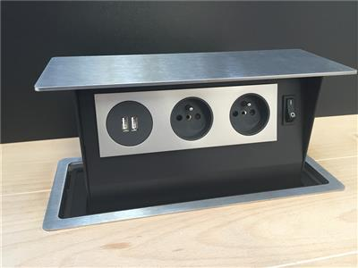 S-BOX POWER INOX B-F (2 PRISES + 2 USB)